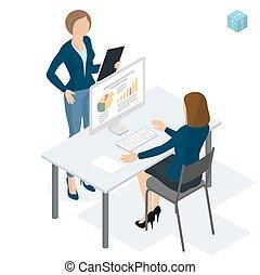 biuro., isometric, pracujące ludzie