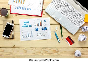 biuro, karta, prospekt, wykresy, notatnik, dyskutując, wykresy, handlowy, laptop, kredyt, górny, kwiat, biurko