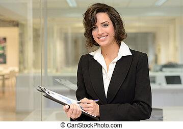 biuro., kobieta handlowa