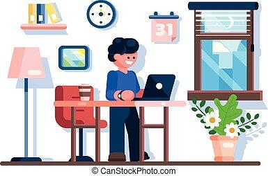 biuro, laptop, biurko, workplace., biznesmen, używając