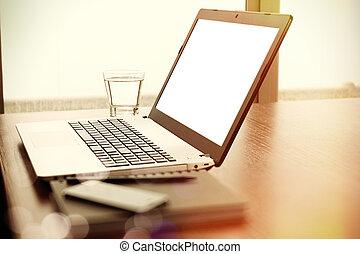 biuro, laptop, telefon, drewno, miejsce pracy, czysty, stół, ekran, mądry