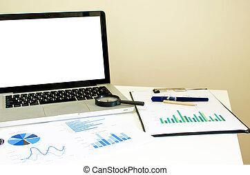 biuro, miejsce pracy, laptop