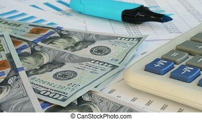 biuro, pieniądze, dolary, na dół, desk., spadanie, stół.