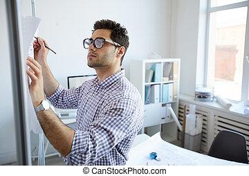 biuro, planowanie, projekt, inżynier