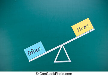biuro, pojęcie, imbalance, dom