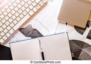biuro., porządek dzienny, przegląd, tło., planista, concept., wykresy, finanse, dane, finansowy, wykresy, analiza