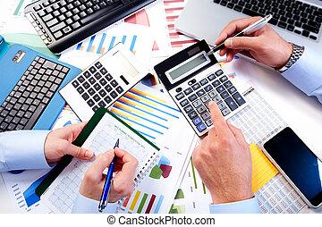biuro., pracujący, handlowy zaprzęg
