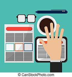 biuro, projektować, ikony, strategia