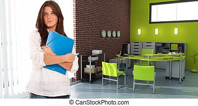 biuro, przypadkowy, kobieta, młody
