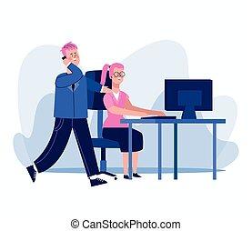 biuro, rysunek, barwny, pracująca kobieta, biurko, biznesmen, projektować