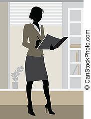 biuro, sylwetka, kobieta interesu
