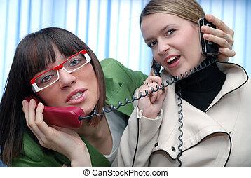 biuro, zabawa, z, telefony