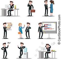 biuro, zbiór, ludzie