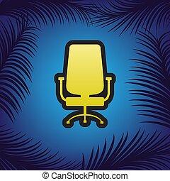 biurowe krzesło, poznaczcie., vector., złoty, ikona, z,...