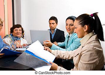 biurowe ludzie, pracujący, spotkanie, handlowy