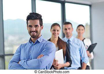 biurowe ludzie, spotkanie, grupa, handlowy