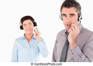 biurowi pracownicy, z, słuchawki