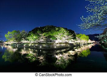 Biwa lake canal in Japan at night