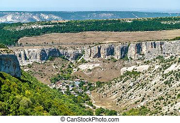 Biyuk-Ashlama-Dere gorge in Bakhchisarai, Crimean mountains,...