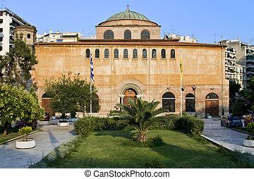 bizánci, orthodox templom, közül, god\'s, jámbor, sophia, -ban, thessaloniki, görögország