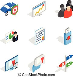 Biz development icons set, isometric style