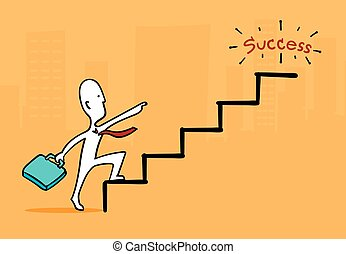 Biz man concept : Businessman at star point running up to success stair
