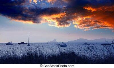 biza sea sunset view from island - biza sea sunset view from...