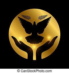 bizalom, béke, szeret, repülés, vallás, szabadság, galamb, hands.