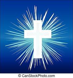 bizalom, keresztény, religion., ábra, cross., vektor