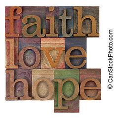 bizalom, szeret, és, remény