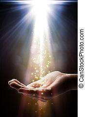 bizalom, vízesés, képben látható, -e, kéz