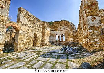 bizantino, igreja, ruínas, em, prespes, grécia