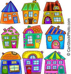 bizarre, coloré, maisons, griffonnage, détaché