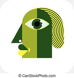 Bizarre creature vector illustration, cubism graphic modern...