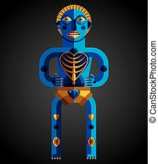 Bizarre creature vector illustration, cubism graphic modern picture. Flat design image of an odd character isolated.