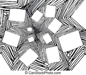 bizarre, fractal, dessin animé, fond, aimer