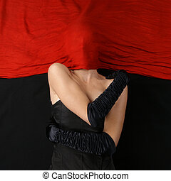 Bizarre lady over red and black