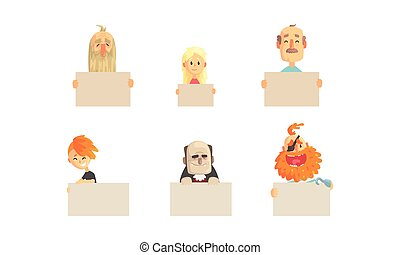 Bizarre People Holding Blank Banners Collection, Funny Characters Demonstrating Empty Placards Vector Illustration