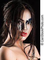 bizarre - Portrait of an asian model with fantasy make-up....