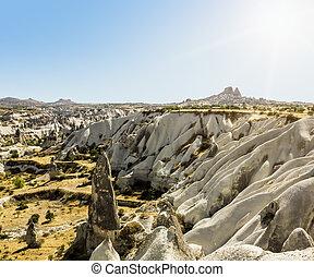 Bizarre rock formations of volcanic Tuff and basalt in Cappadocia, Turkey