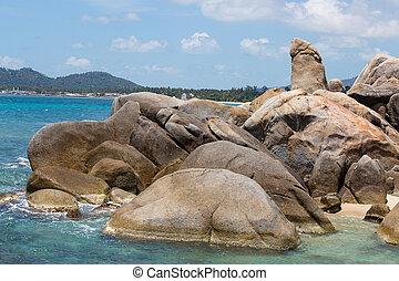 Bizarre rock , hin ta hin yai, very famous landmark of Samui, Thailand