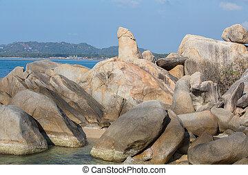 Bizarre rock , very famous landmark of island Samui, Thailand