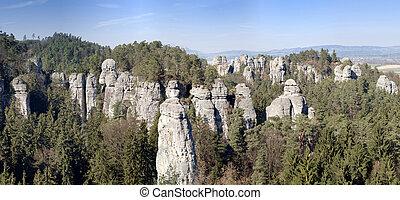 Bizarre rocks in Bohemian Paradise - panorama