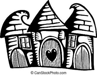 bizarre, village, maisons