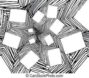 bizarro, fractal, caricatura, fundo, semelhante