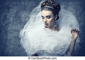 bizarro, mulher, vestido, romanticos