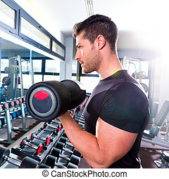 bizeps, workout, fitness, hantel, turnhalle, mann