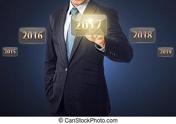 biznesmen, 2017, dotykanie, liczba, ręka