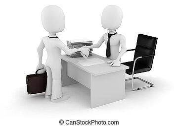 biznesmen, 3d, transakcja, człowiek