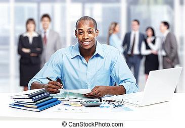 biznesmen, afrykańska-amerikanka, czarnoskóry, biuro.